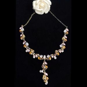 Beaded Floral Necklace Genuine Chrystals